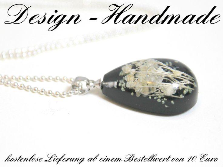 Ketten lang - Halskette echte Blüten Leuchtend SCHWARZ Silber - ein Designerstück von Design-Handmade bei DaWanda