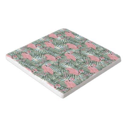 #Cute Pink Flamingoes Palm Leafs Pattern Trivet - #travel #trip #journey #tour #voyage #vacationtrip #vaction #traveling #travelling #gifts #giftideas #idea