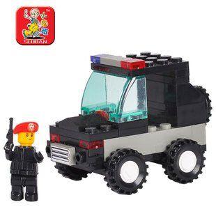 Кэндис го пластиковая игрушка строительный блок соберите модель автомобиля игры мини-полицейский автомобиль образовательных детские подарок на день рождения подарок