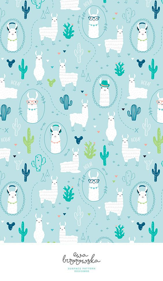 No drama llama - surface pattern design with lamas and cactuses. Unisex textile design for children.