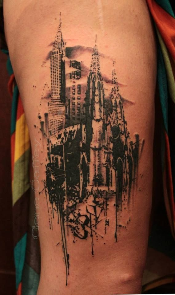 City skyline gene coeffey tattoos pinterest cities for Famous tattoo artists nyc