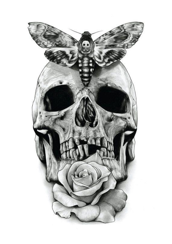 Skull Rose and Deaths head hawk moth by AaronKingIllustrator, £15.00