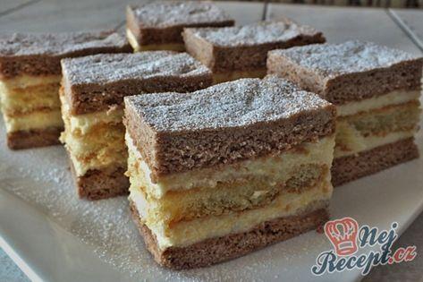 Fantastické kávové řezy s vanilkovým krémem a piškoty | NejRecept.cz