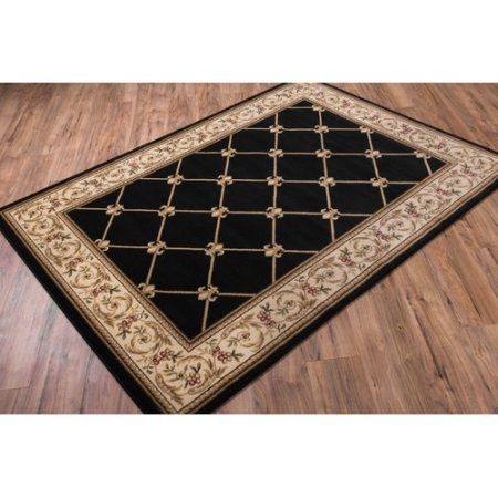 Well Woven Timeless Fleur De Lis Traditional Area Rug, 10'11 inch x 15', Black