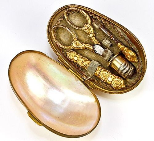 Antique French Mother of Pearl Shell Etui with Sewing Tools, Scissors, Thimble + I'd love to have this!!!!