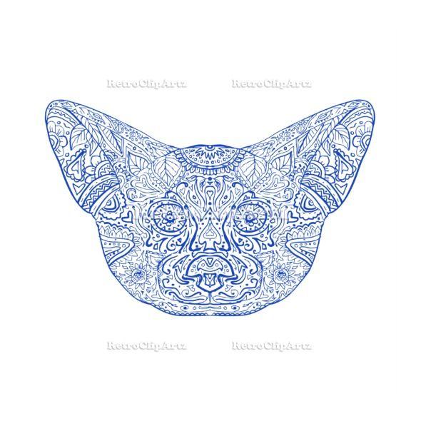Fennec Fox Head Mandala Vector Stock Illustration.   Illustration of a Fennec Fox Head front view done in hand drawing sketch Mandala style. #illustration #FennecFoxHead