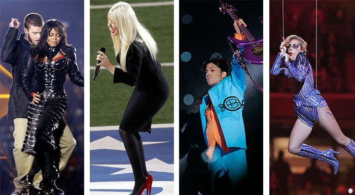 Dalla tetta di Janet Jackson alla Purple Rain che appanna il display, dagli squaletti scordinati di Katy Perry fino all'esagerata Lady Gaga che si lancia nel vuoto per segnare il touchdown tr…