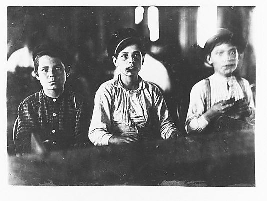 """BEFORE CHILD LABOR LAWS:  """"Boys Rolling Cigars"""", ca. 1910. ~ Photo:  Lewis Hines"""