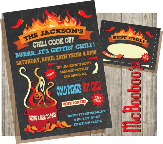 Chili cook off invitations on a chalkboard background by McBooboos. Super cute and you can purchase the voting ballot too!