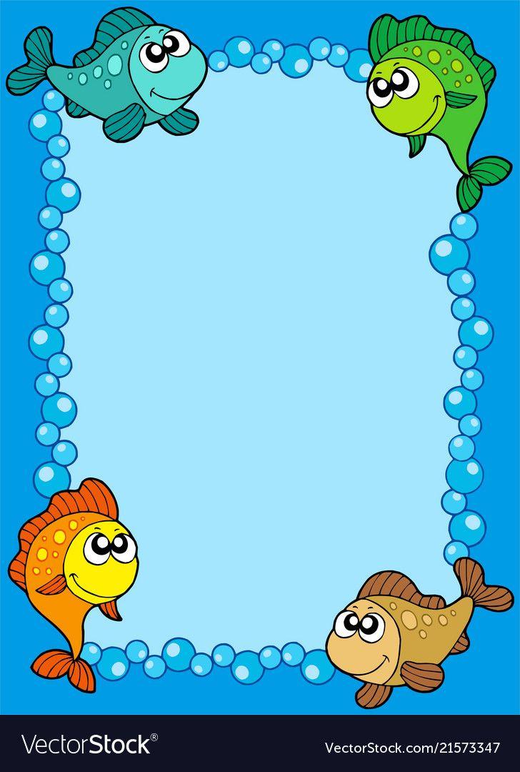 Cute Frame With Fishes And Bubbles Vector Image On Incentivos Para Alunos Jogos Educacao Infantil Espelho De Tomada