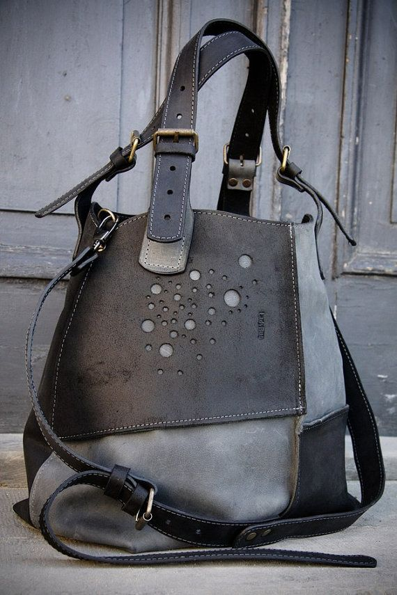 Oversized Bag ladybuq grey and black natural leather handmade