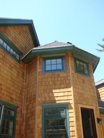 Best Cedar Shake And Green Trimmed Window Darker Window 400 x 300