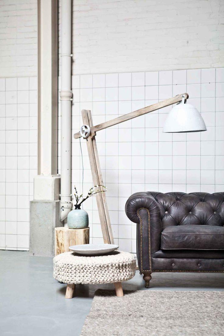 Carpet Wool - beige/brown | Stool Wool L - nature | Stool Wood on wheels | Floor lamp Wood XL