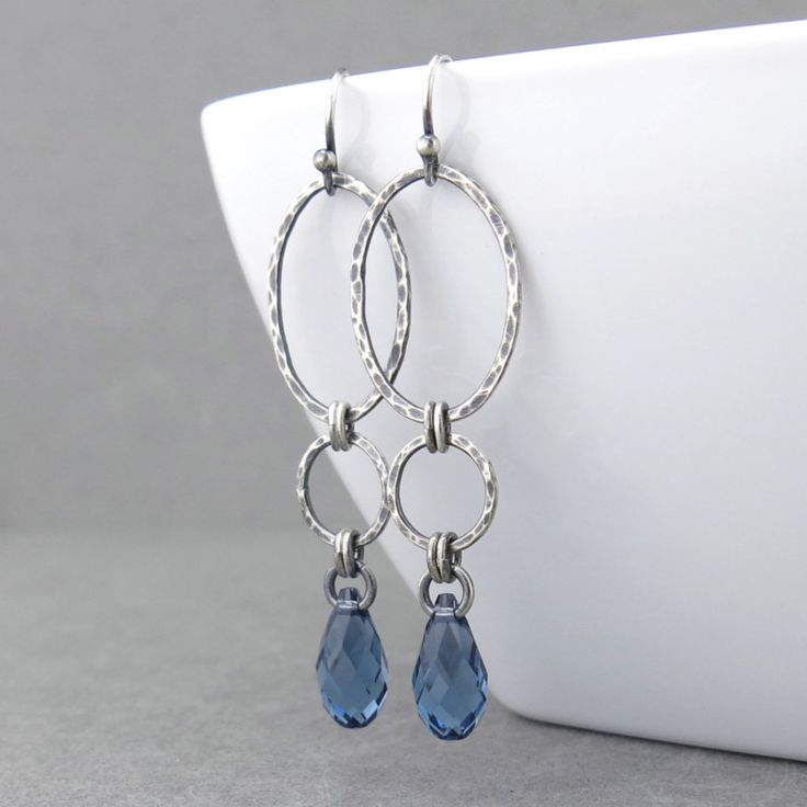 Long Dangle Earrings Silver Drop Earrings Blue Crystal Earrings Geometric Jewelry September Birthstone Jewelry Gift for Her - Adorned Aubrey - Earrings - These long silver dangle earrings are very lightweight and comfortable to wear. These blue drop earrings are elegant in their modern simplicity. Perfect for September birthdays, 13mm Sapphire crystal faceted teardrop brioletes are simply suspended from hammered Sterling Silver... #Handmade, #Silver