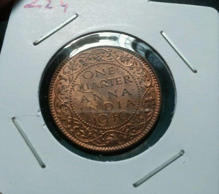 1 QUARTER ANNA BRITISH INDIA 1940 KING GEORGE VI COPPER UNC COIN