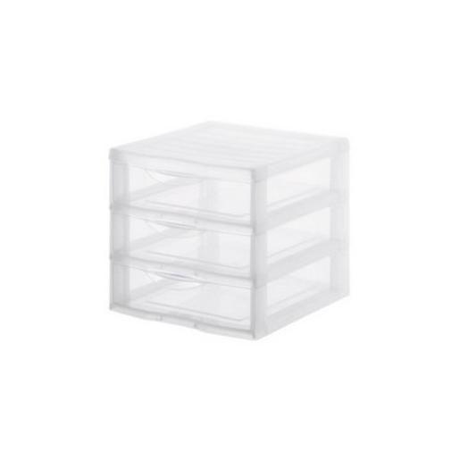 Tour de rangement 3 tiroirs - Plastique - 21 x 18 x H 17 cm - Transparent