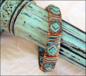 http://www.blingingcowgirl.com.au/jewellery Patina Copper Turquoise Stretch Bracelet