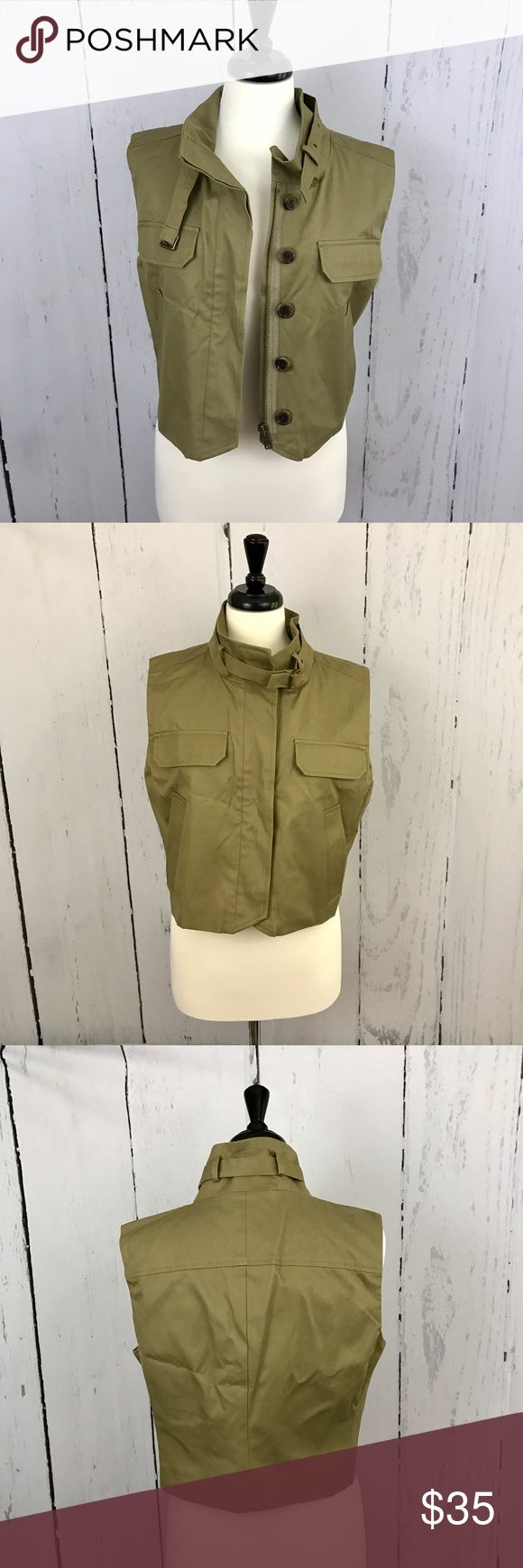 J. Crew Cotton Vest Trench coat-like details. Olive cotton material. Great outfit maker over a plain tee. EUC J. Crew Jackets & Coats Vests