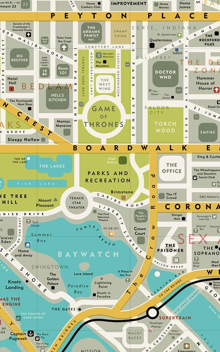 Take a look at This infographic Of A Map of Famous Places From Your Favorite TV Shows