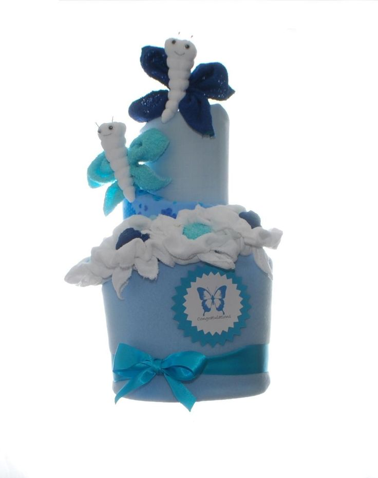 Butterfly nappy cake - blue. Perfect for a new baby boy gift. Wow any Mum as a baby shower gift. Washcloth animals - butterflies and washcloth flowers are the perfect towel art to compliment this stunning nappy cake. Comes complete with personalised die cut message,