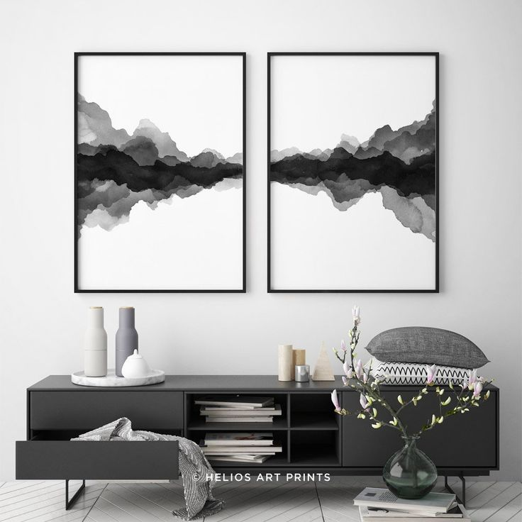 Set of 2 abstract minimalist landscape watercolours, Set of two black and white printable digital downloadable modern wall art