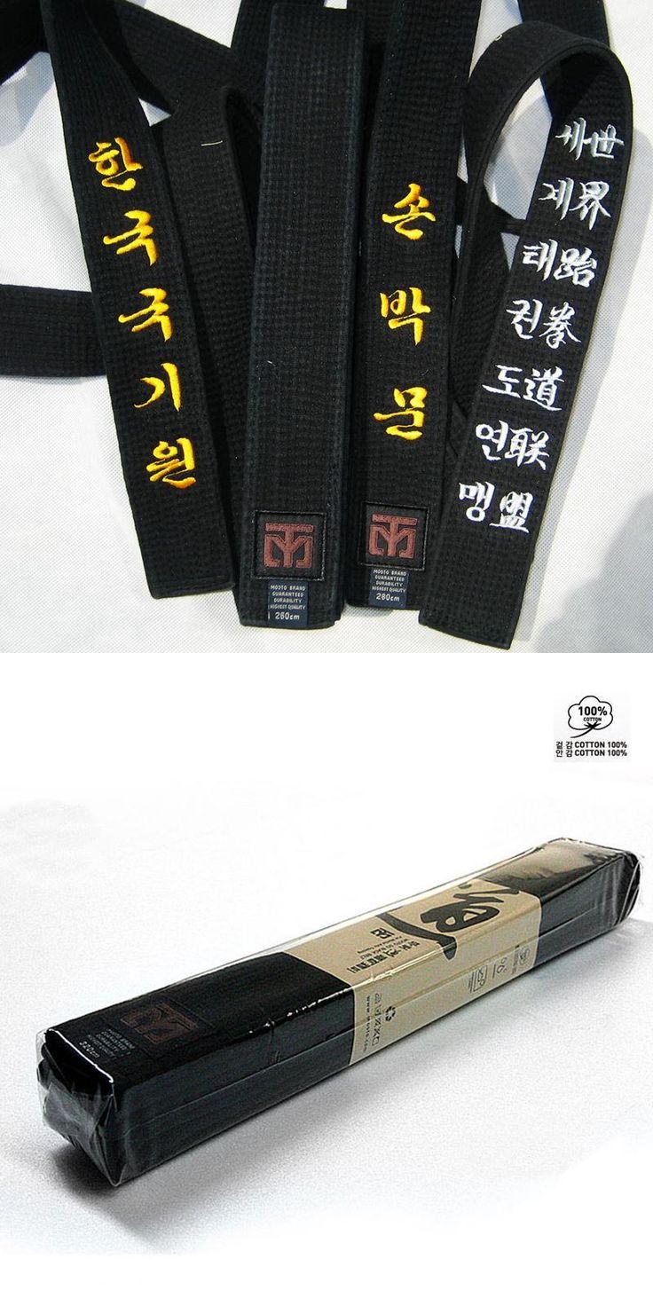 [Visit to Buy] High quilty black WTF ITF MOOTO taekwondo belt Embroidery cotton belt taekwondo itf taekwondo belt Custom embroidery 1.8-3.4m #Advertisement