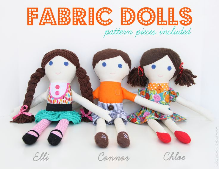 Sew up some personalized Fabric Dolls...and make someone smile! (free pattern pieces and picture tutorial included) www.makeit-loveit.com #sewing #giftidea #makeitandloveit