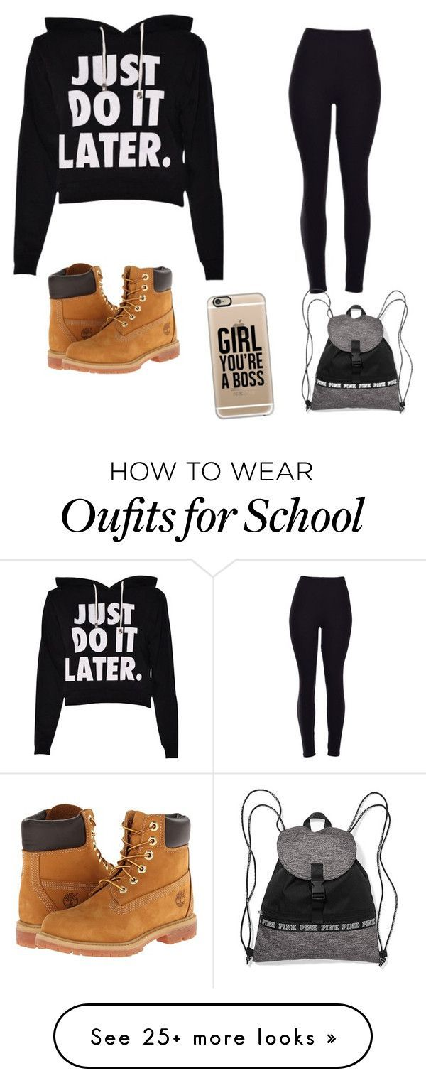 School outfit by drama-tay on Polyvore featuring Timberland and Casetify Clothing, Shoes & Jewelry : Women : Shoes : Athletic : Nike http://amzn.to/2l40btB