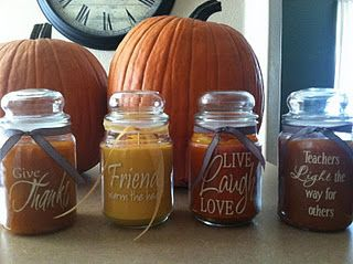Add a vinyl design to spruce up a candle and made a great personalized gift.