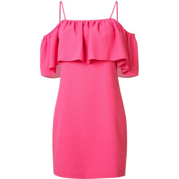 Trina Turk spaghetti strap flutter dress (€420) ❤ liked on Polyvore featuring dresses, pink cocktail dress, trina turk dresses, frilled dress, rosette dress and spaghetti strap dress