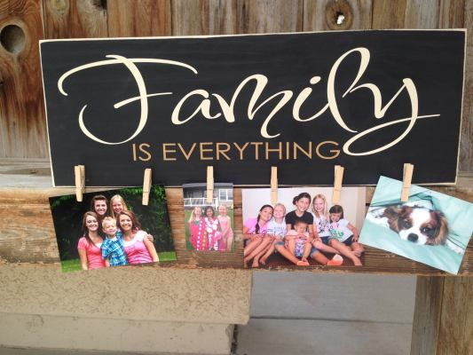 FAMILY is EVERYTHING - wood home decor sign for hanging pictures or notes made with vinyl lettering