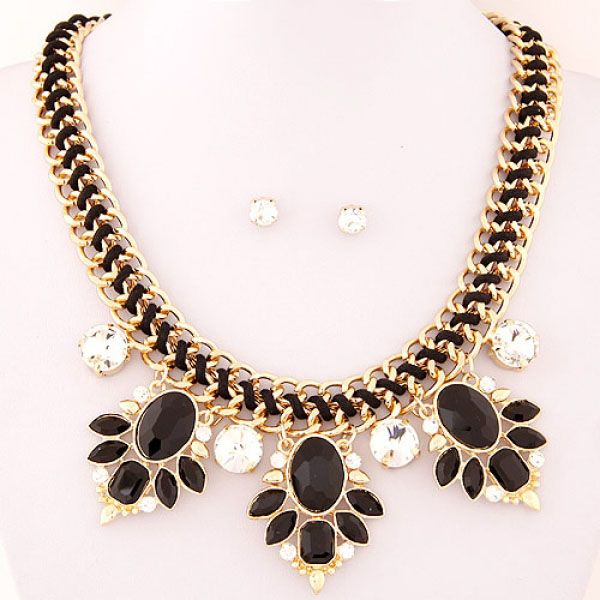 Oval Bead Bib Bubble Statement Necklace Earrings Set - Majesty Case