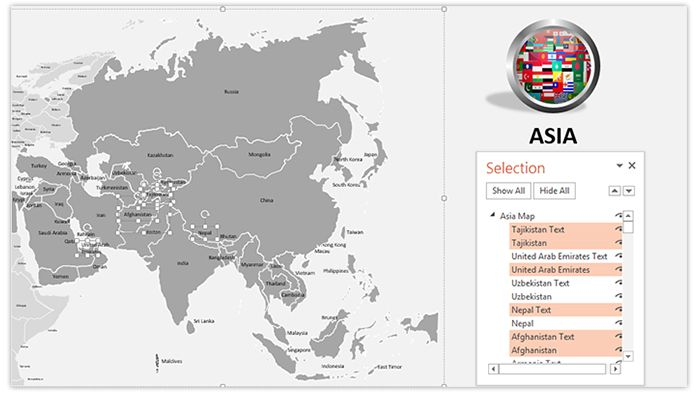Download our professionally designed #Asia #PowerPoint #Map With #Selection #List. This #powerpoint #map of #Asia is #vector based and can be scaled to any ratio easily. Get our editable #map of #Asia now for your upcoming presentation. This royalty free map of Asia and its provinces of ours lets you edit text and values easily and hassle free, and can be used for various #sales, #marketing and #educational PowerPoint #presentations.