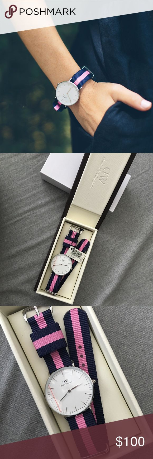 Daniel Wellington ladies watch -classic Winchester Daniel Wellington ladies watch - classic Winchester in navy & pink with silver detail. Brand new! Retails $175 Daniel Wellington Jewelry