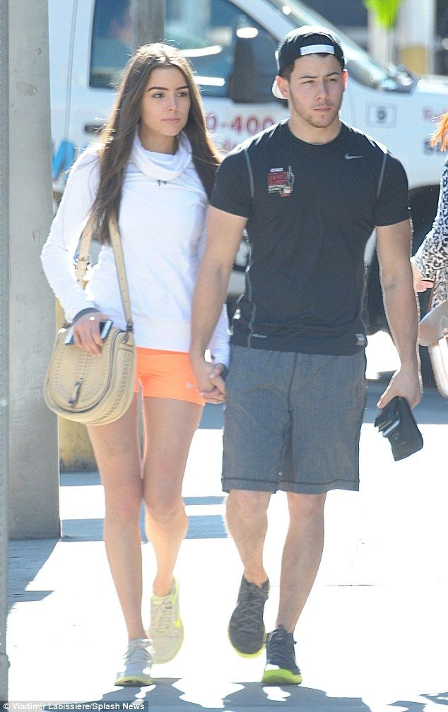 Nick Jonas and Olivia Culpo on loved up lunch date after their workout #dailymail