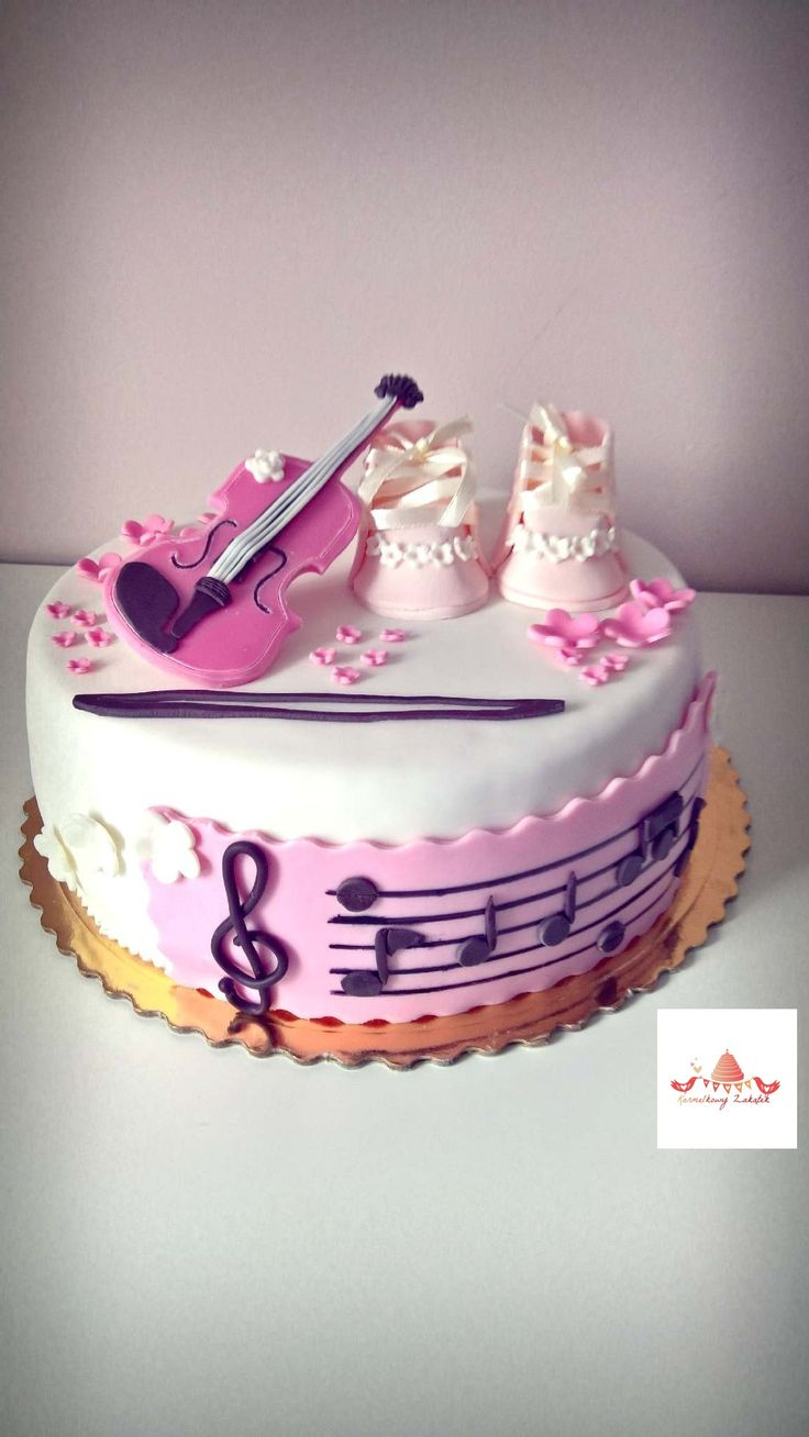 Baby girl cake. Musician violin cake. Shoes Cake and music