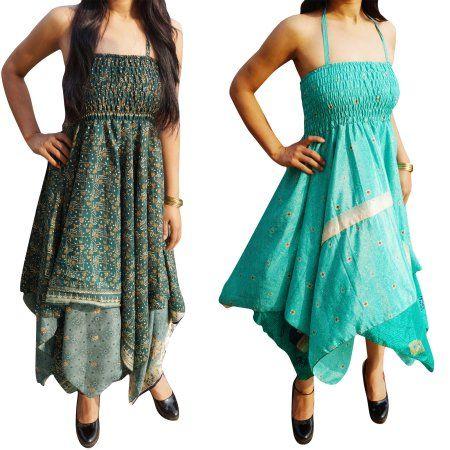 42bb8a3eee Mogul Lot Of 2 Womens Summer Dress Recycled Vintage Sari Handkerchief Hem  Halter Neckline 2 Layer Gypsy Dresses XS