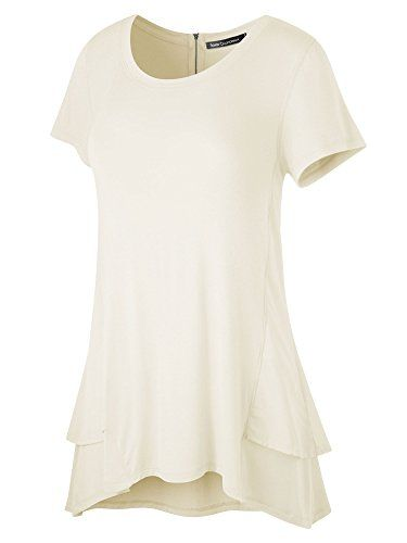 FACA Womens Double Layer Hem Short Sleeve Tunic Top XLarge Beige *** Continue to the product at the image link.