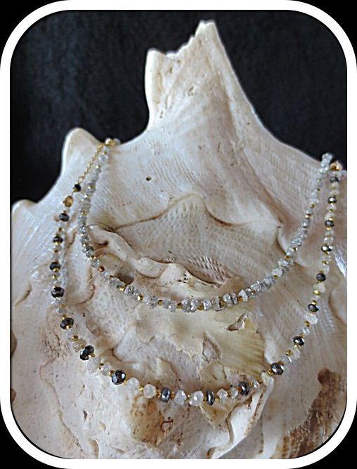 Rough white and black diamonds Necklaces