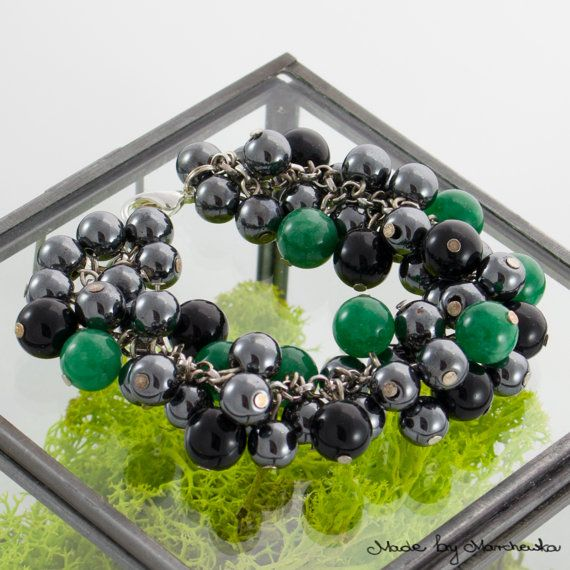 Beautiful bracelet made with black hematite by MadeByMarchewka