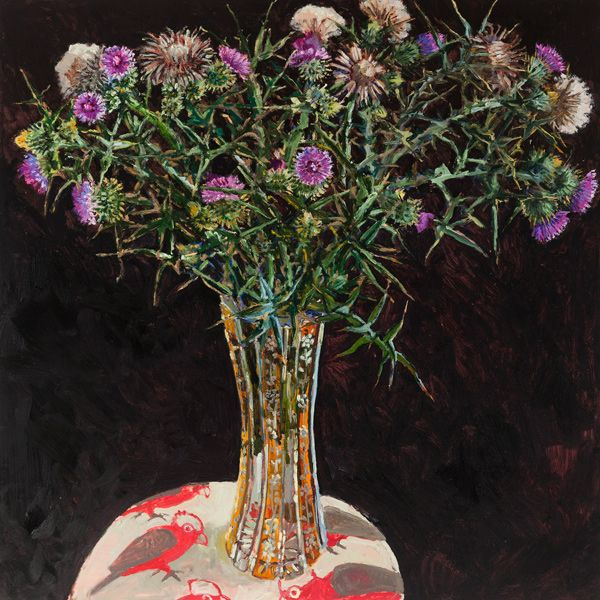 Black Thistle, 2014, oil on board,  80 x 80cm, by Lucy Cullinton