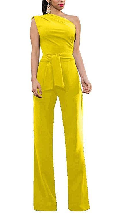 383e0d4332 Women Sexy Sleeveless High Waist Solid One Shoulder Jumpsuit Romper with  Belt