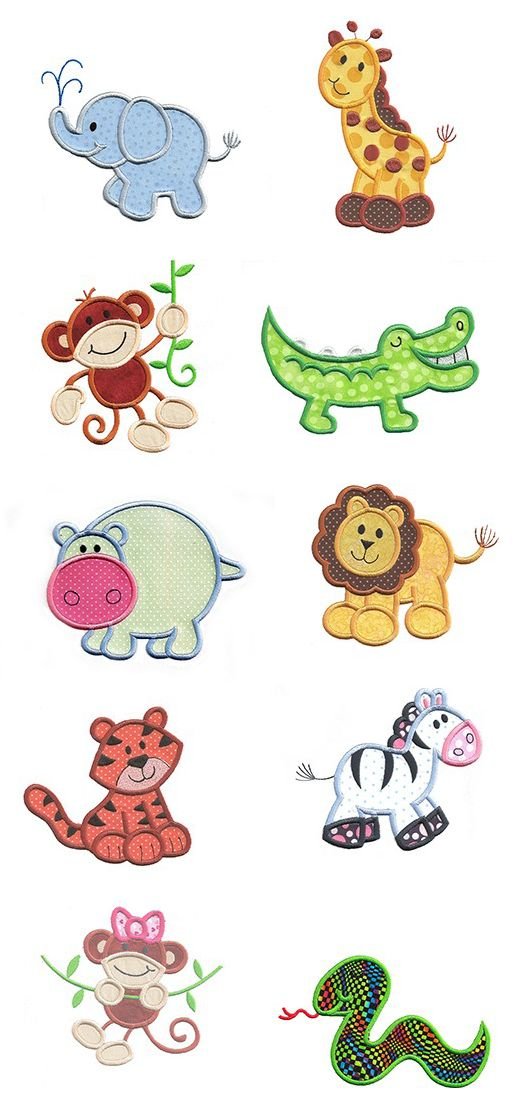 Jungle Safari Animals applique design set available for instant download at www.designsbyjuju.com