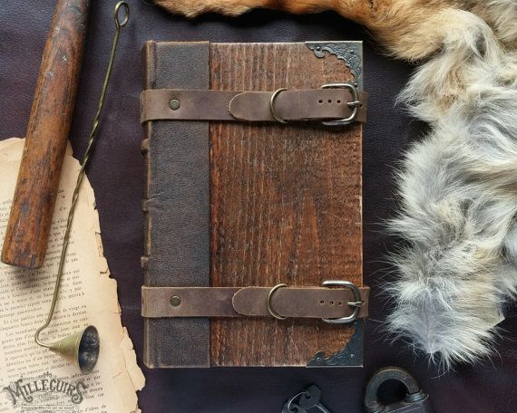 Handmade wooden grimoire, one of a kind leather journal, medieval bookbinding, rustic wood diary, ooak larp sketchbook, druid altered book