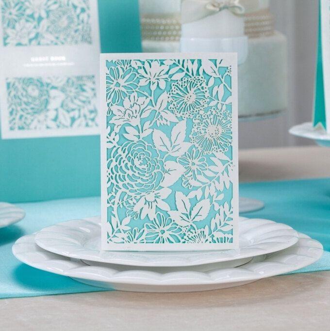 Malibu Blue Customized Wedding Invitations Laser Cut Printable Set With Personalized Design