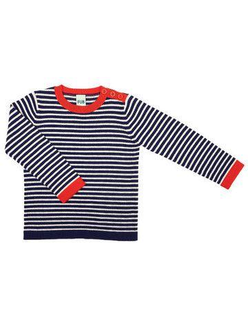 FUB - Thin Sweater navy/ecru 100% merino wool Scandinavian design