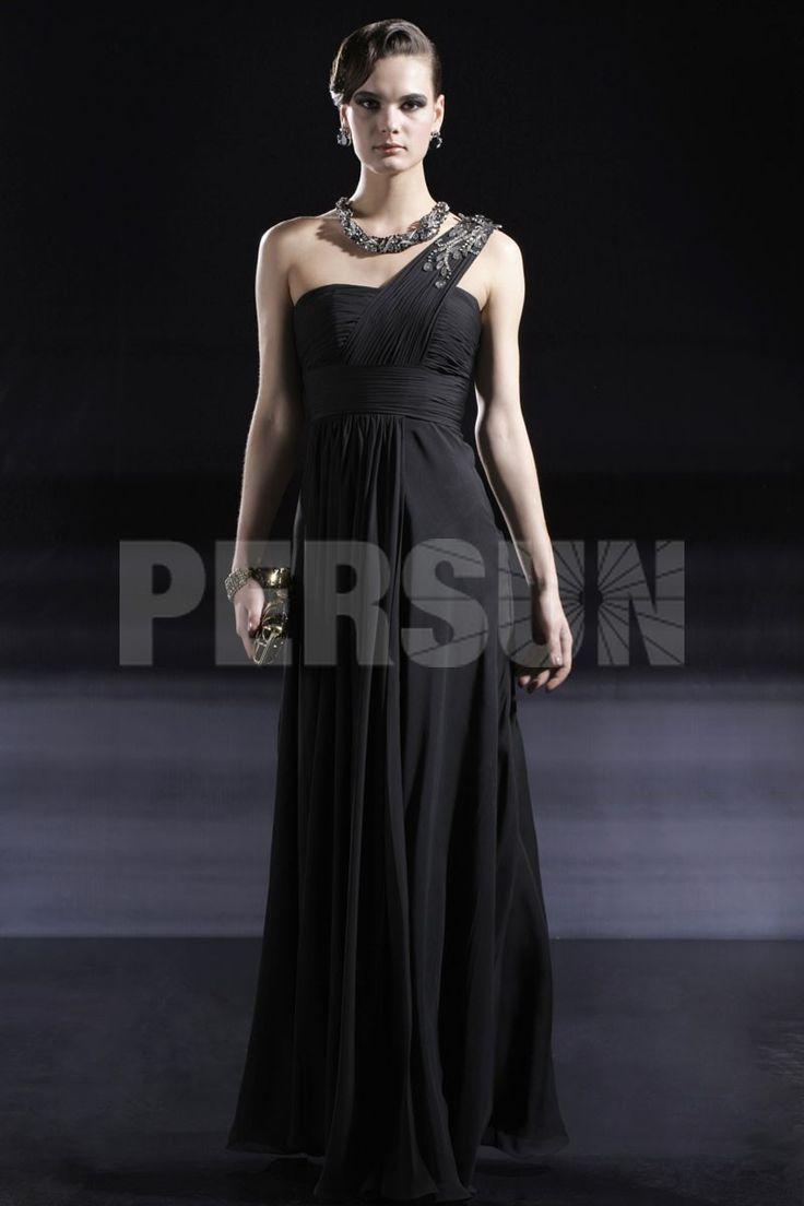ONE SHOULDER BEAD BLACK CHIFFON EVENING DRESS