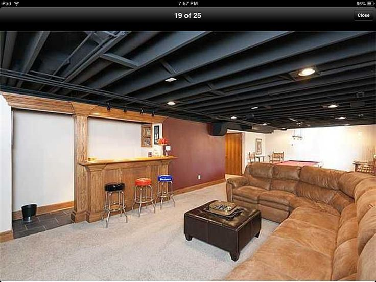 paint basement rafters add lighting instead of drop ceiling