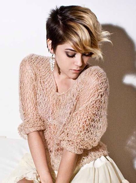 Ombre hair color for a pixie cut.
