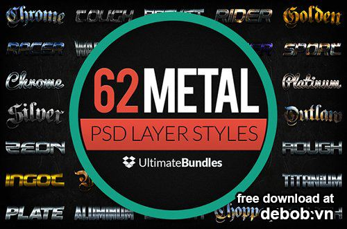 CM Metal & Chrome Layer Styles Bundle 10921
